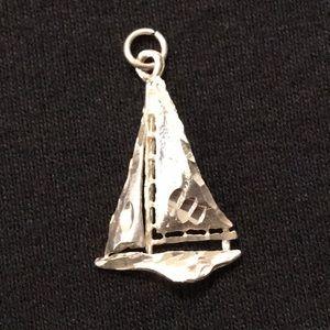 Unisex Sailboat diamond cut sterling silvr pendant